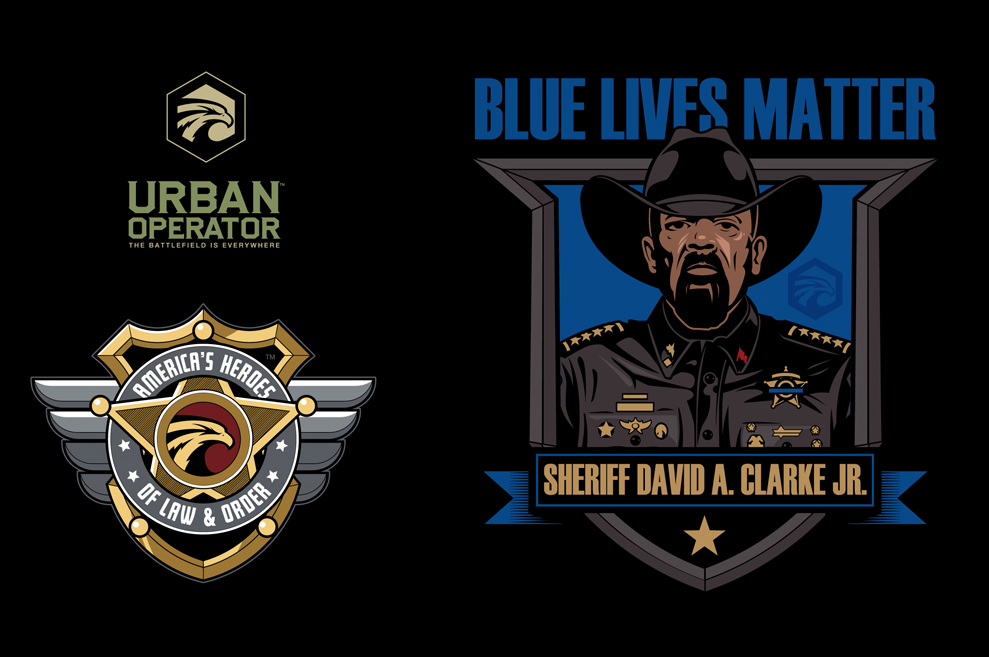 Black Friday $5 AH of LO Sheriff Clarke Blue Lives Matter Short Sleeve T-Shirt