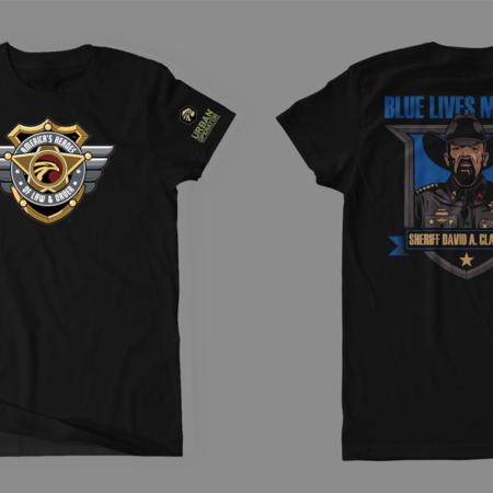 AH of LO Sheriff Clarke Blue Lives Matter Short Sleeve T-Shirt