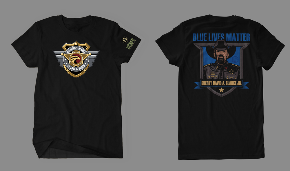 AH of LO Sheriff Clarke Blue Lives Matter Short Sleeve T-Shirt