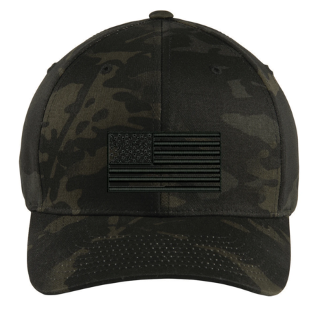Tactical Black Multicam Subdued American Flag Hat