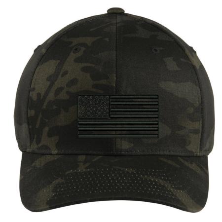 Tactical Black Multicam Subdued American Flag Hat